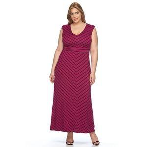 NWT Pink w/ grey striping full length tank dress